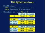 the type boolean