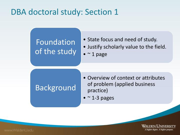 DBA doctoral study: Section 1