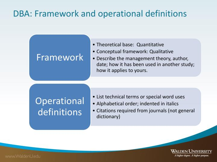 DBA: Framework and operational definitions