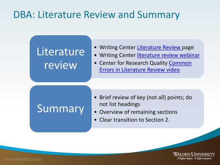 DBA: Literature Review and Summary