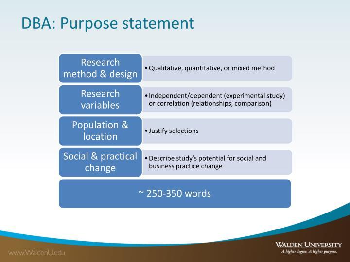 DBA: Purpose statement