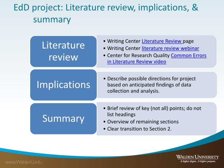 EdD project: Literature review, implications, & summary