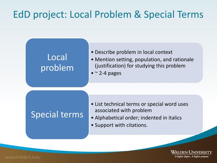 EdD project: Local Problem & Special Terms