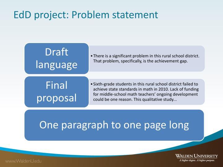 EdD project: Problem statement