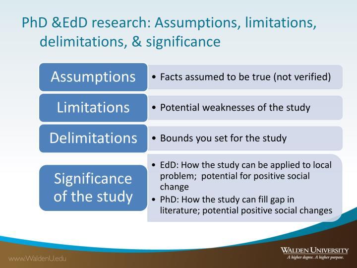 PhD &EdD research: Assumptions, limitations, delimitations, & significance