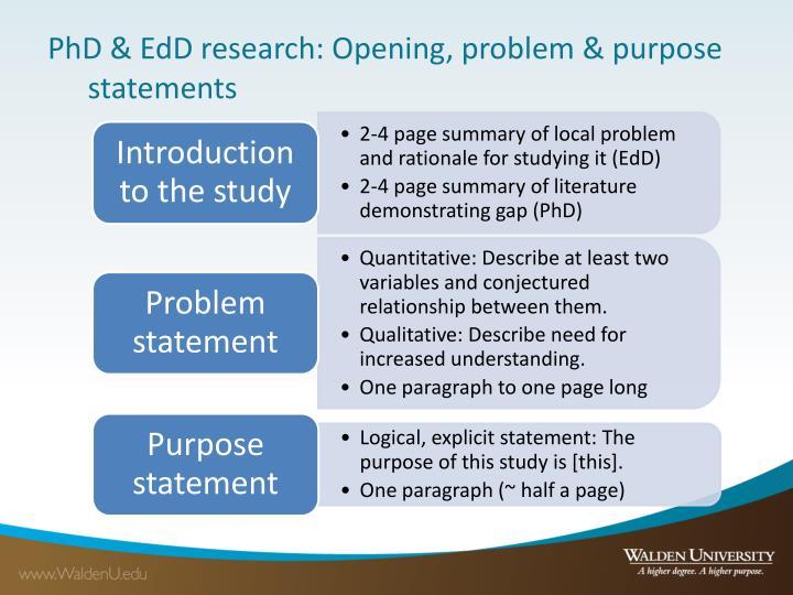 PhD & EdD research: Opening, problem & purpose statements