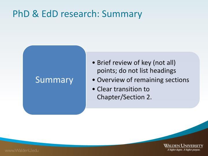 PhD & EdD research: Summary