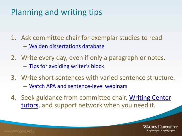 Planning and writing tips