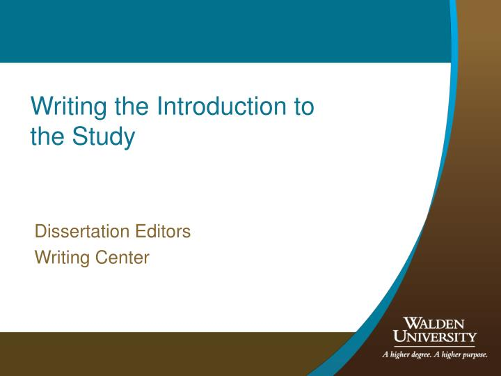 Writing the Introduction to the Study
