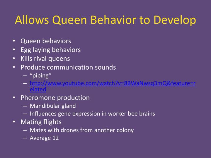 Allows Queen Behavior to Develop