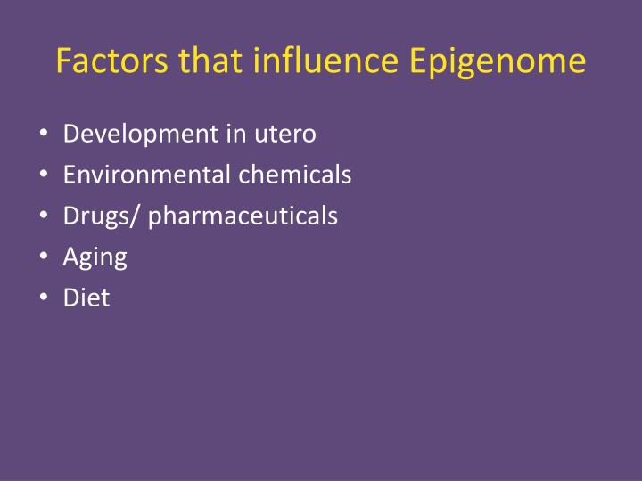 Factors that influence Epigenome