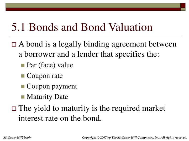 5.1 Bonds and Bond Valuation