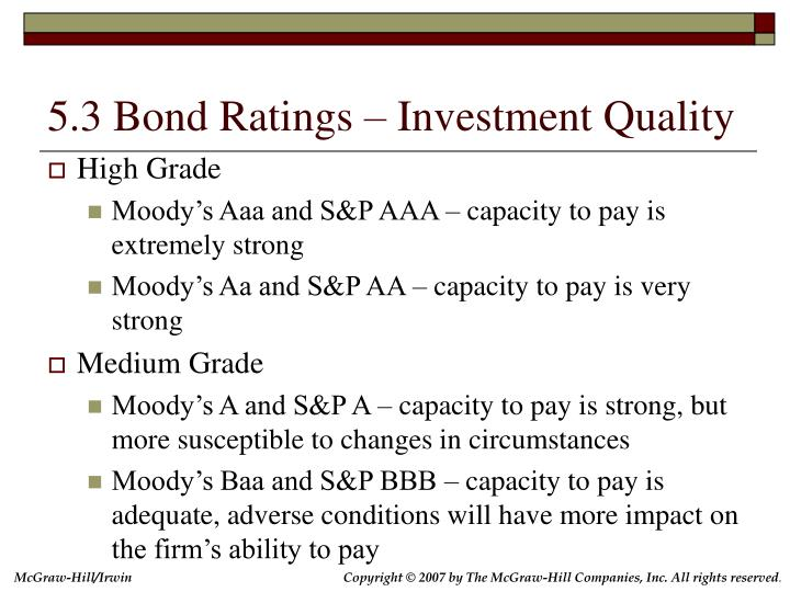 5.3 Bond Ratings – Investment Quality