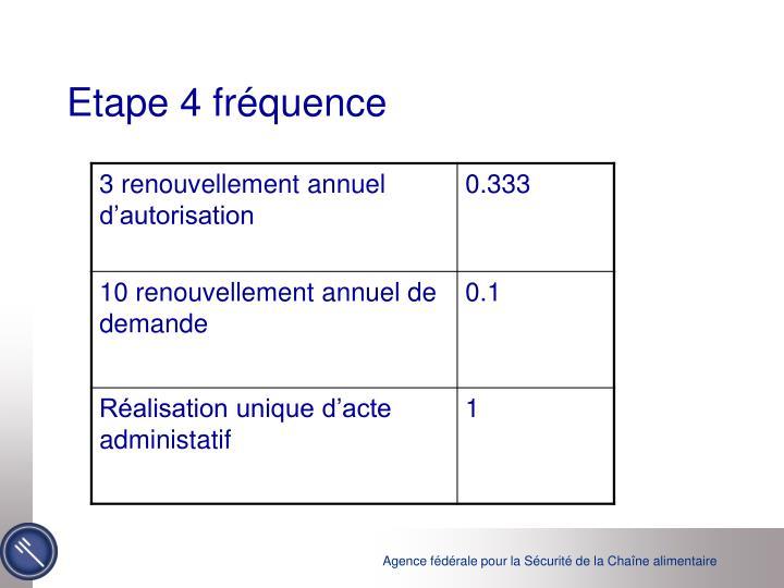 Etape 4 fréquence