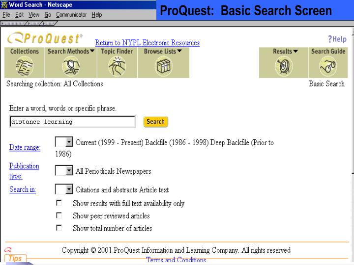 ProQuest:  Basic Search Screen