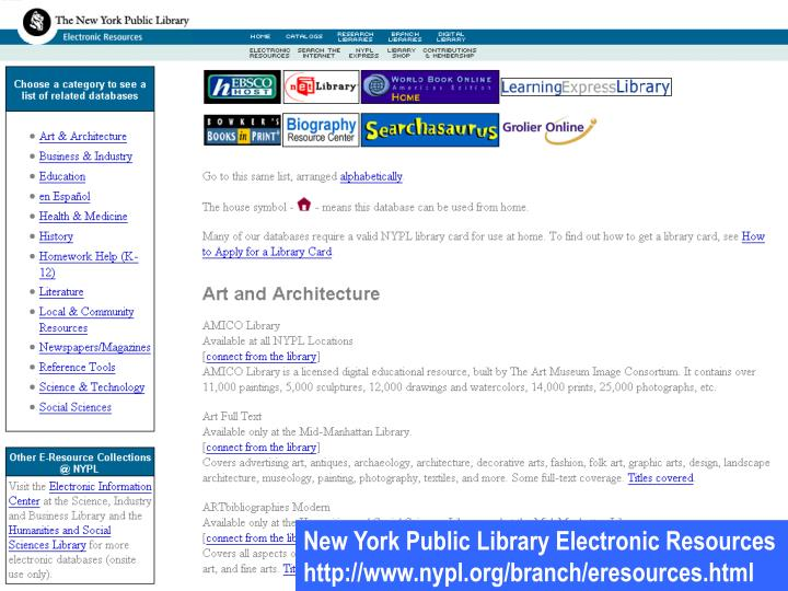 New York Public Library Electronic Resources
