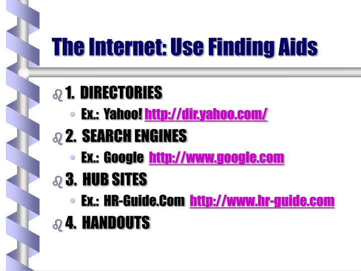 The Internet: Use Finding Aids