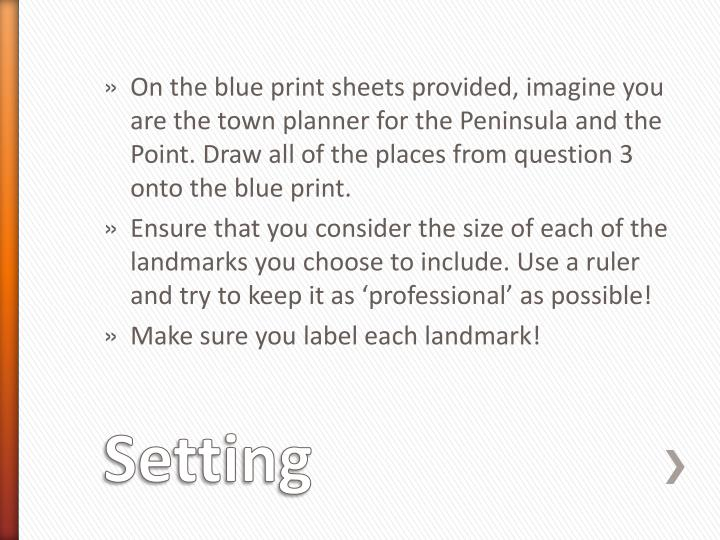 On the blue print sheets provided, imagine you are the town planner for the Peninsula and the Point. Draw all of the places from question 3 onto the blue print.
