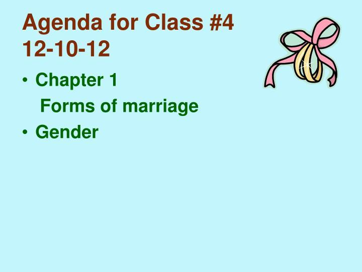 Agenda for Class #4