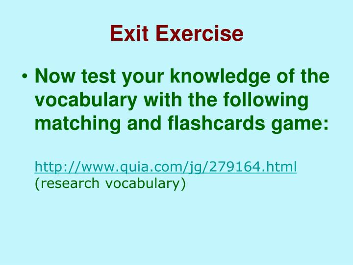Exit Exercise