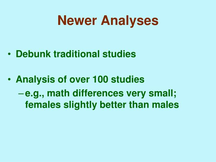 Newer Analyses