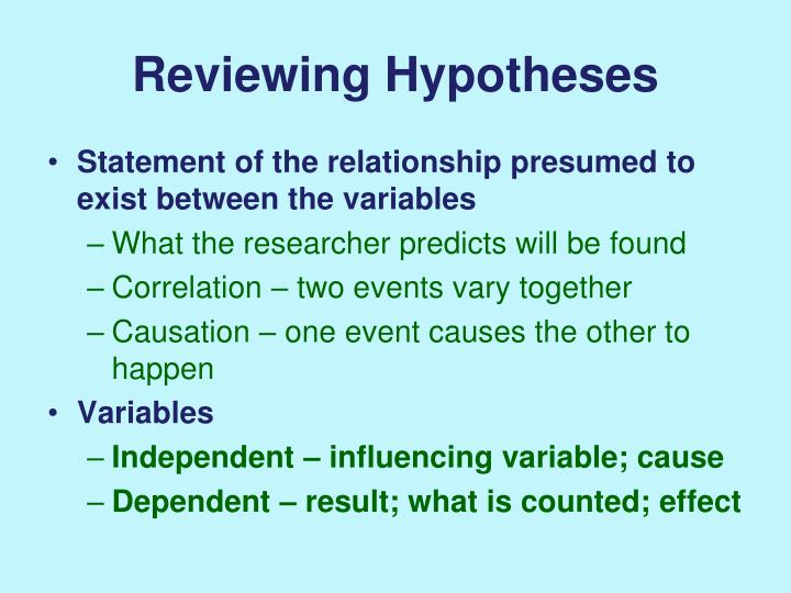 Reviewing Hypotheses