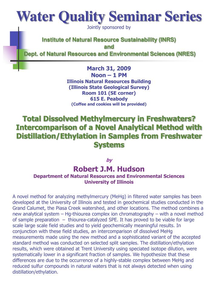 Water Quality Seminar Series