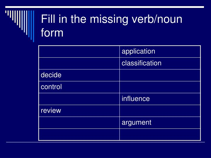 Fill in the missing verb/noun form