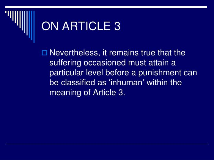 ON ARTICLE 3