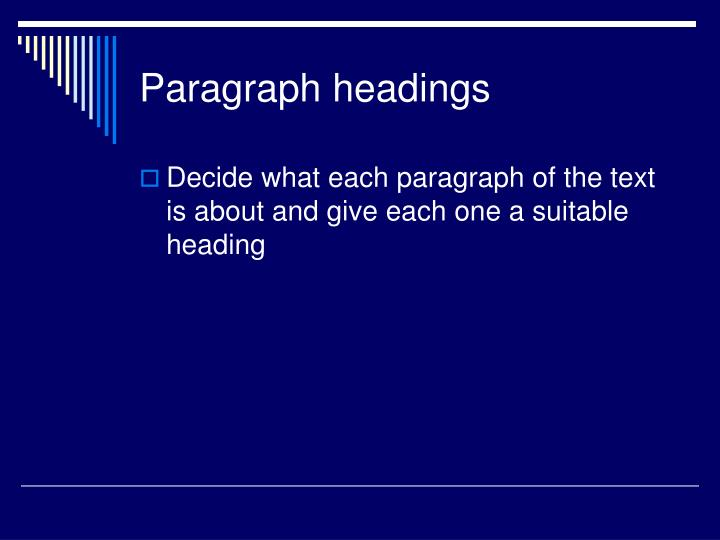 Paragraph headings