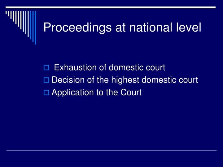 Proceedings at national level