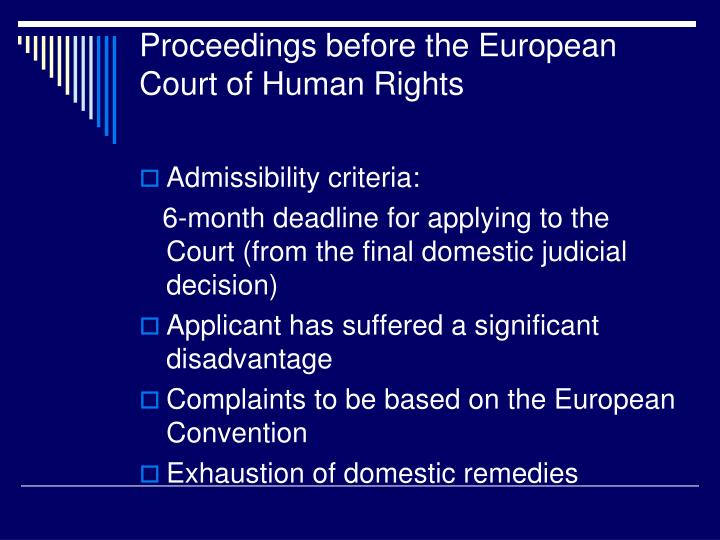 Proceedings before the European Court of Human Rights