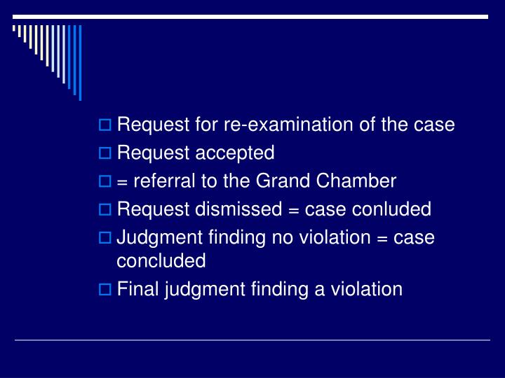 Request for re-examination of the case