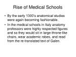 rise of medical schools