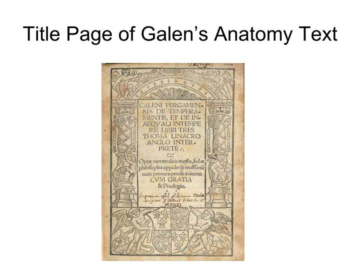 Title Page of Galen's Anatomy Text