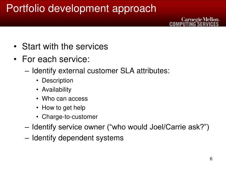 Portfolio development approach