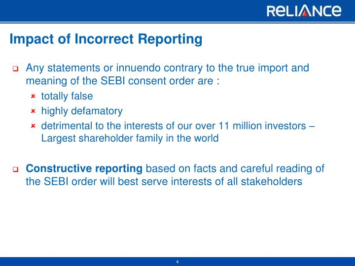 Impact of Incorrect Reporting