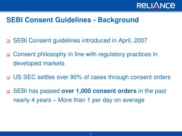 SEBI Consent Guidelines - Background