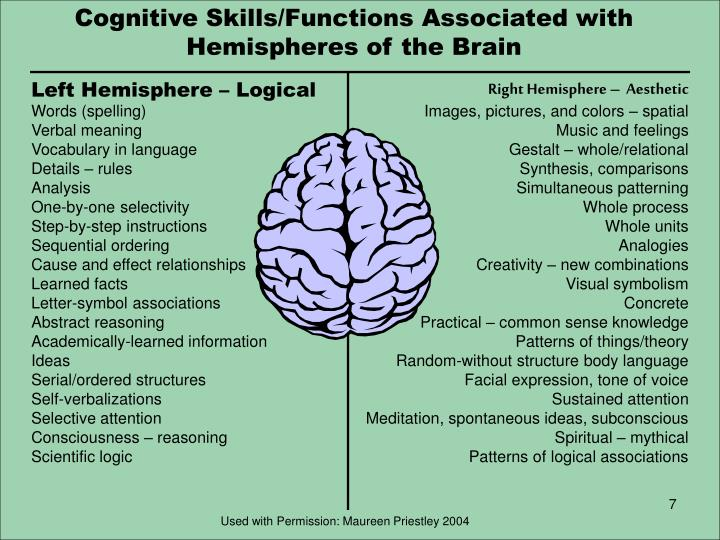 Cognitive Skills/Functions Associated with Hemispheres of the Brain