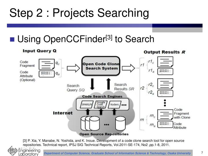 Step 2 : Projects Searching