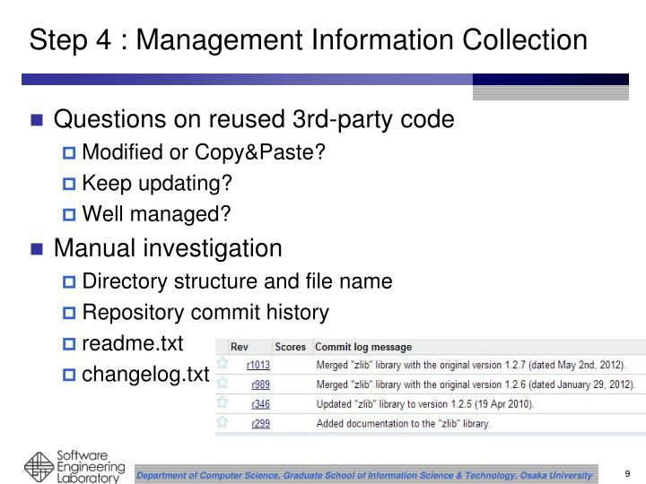 Step 4 : Management Information Collection