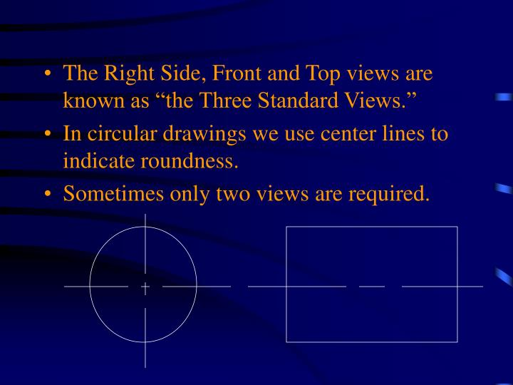 "The Right Side, Front and Top views are known as ""the Three Standard Views."""