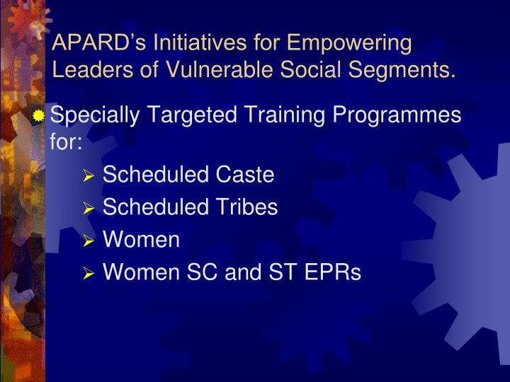 APARD's Initiatives for Empowering Leaders of Vulnerable Social Segments.