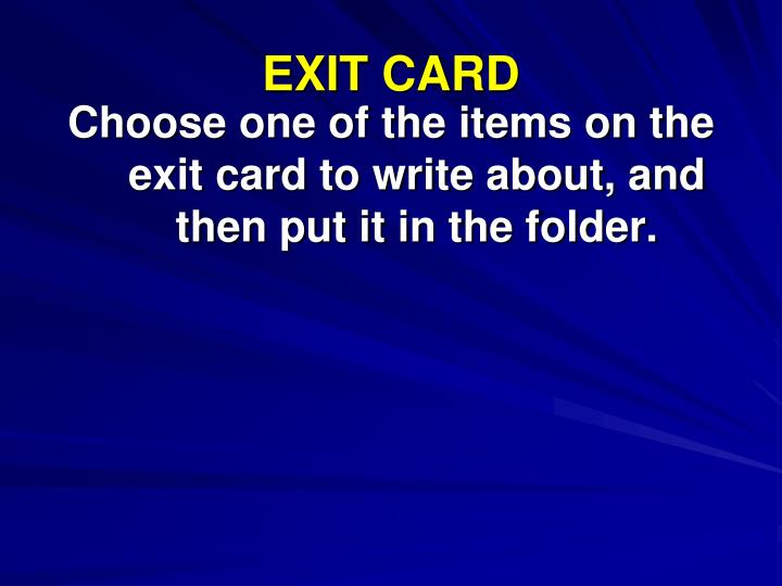 EXIT CARD