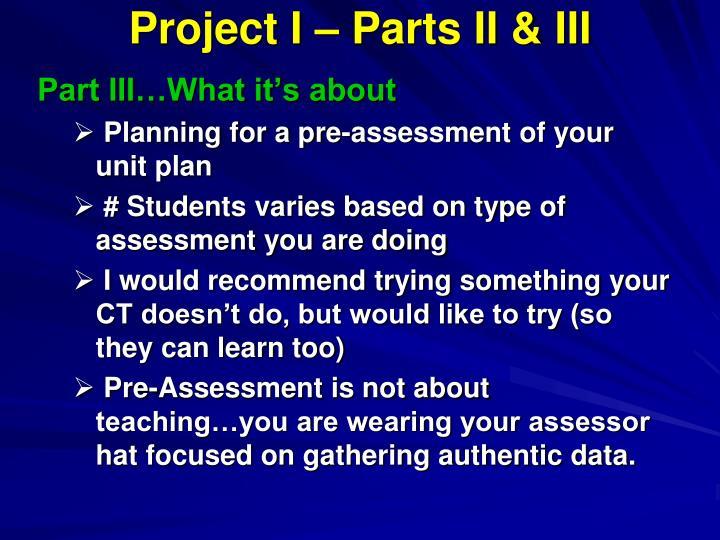 Project I – Parts II & III