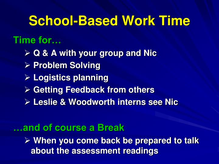 School-Based Work Time