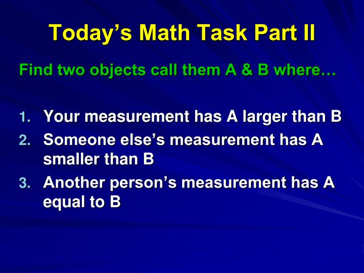 Today's Math Task Part II