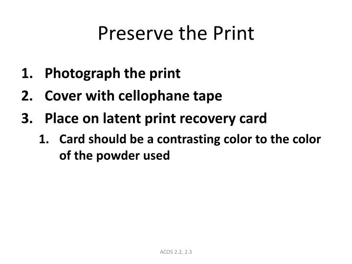 Preserve the Print
