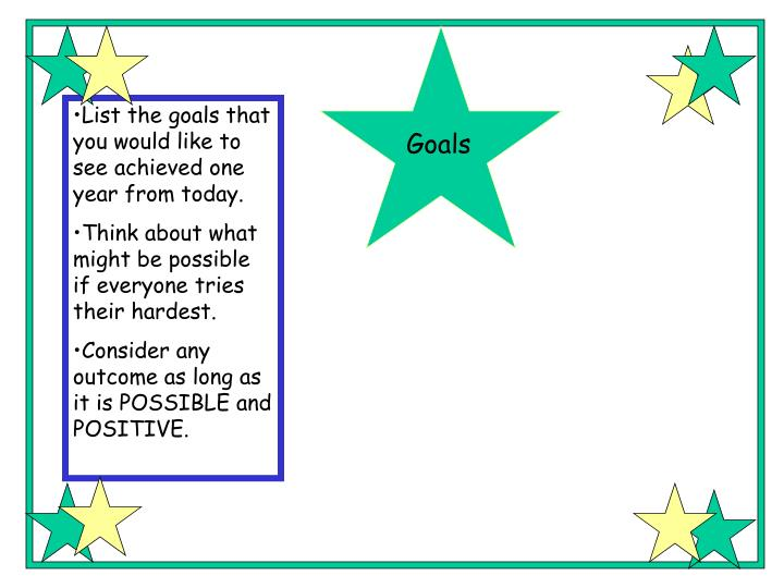 List the goals that you would like to see achieved one year from today.