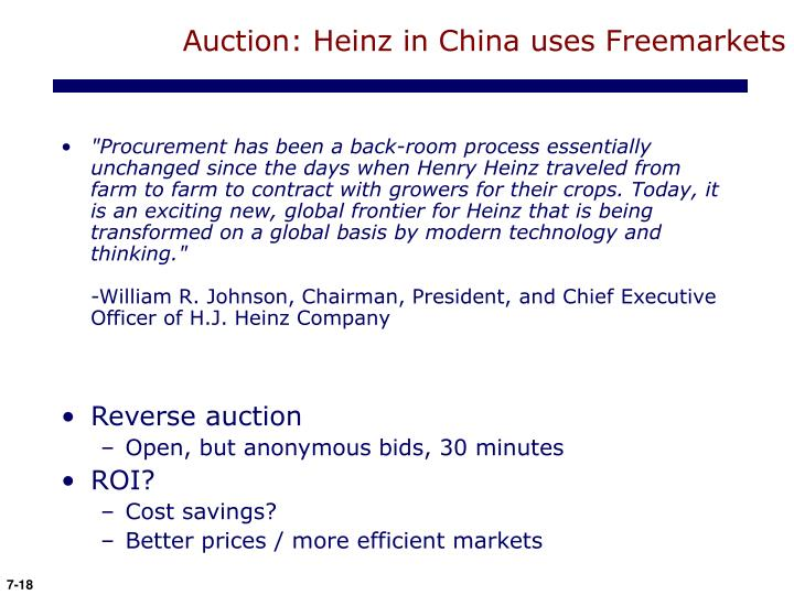 Auction: Heinz in China uses Freemarkets